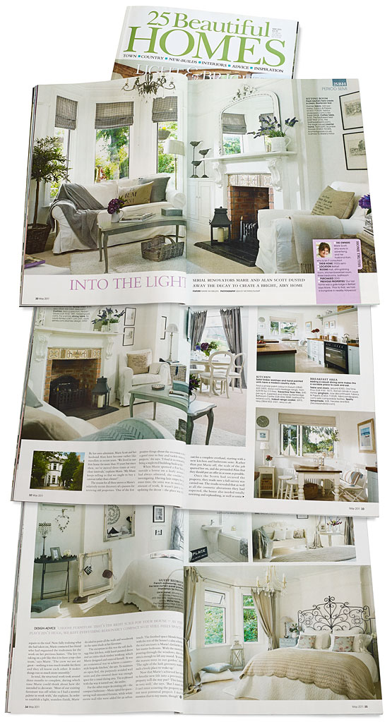 Pages 30 to 35 in the May 2011 issue of 25 Beautiful Homes magazine featuring Marie and Alan Scott's 1920's semi in the Cherryvalley area of Belfast.