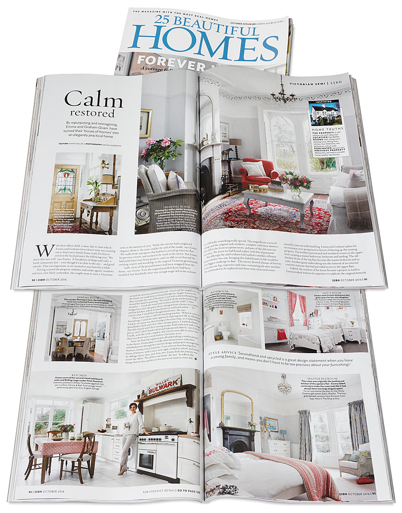 Pages 90 to 93 in the October 2016 issue of 25 Beautiful Homes magazine featuring Emma and Graham Cooper's Victorian semi detached house in Belfast.