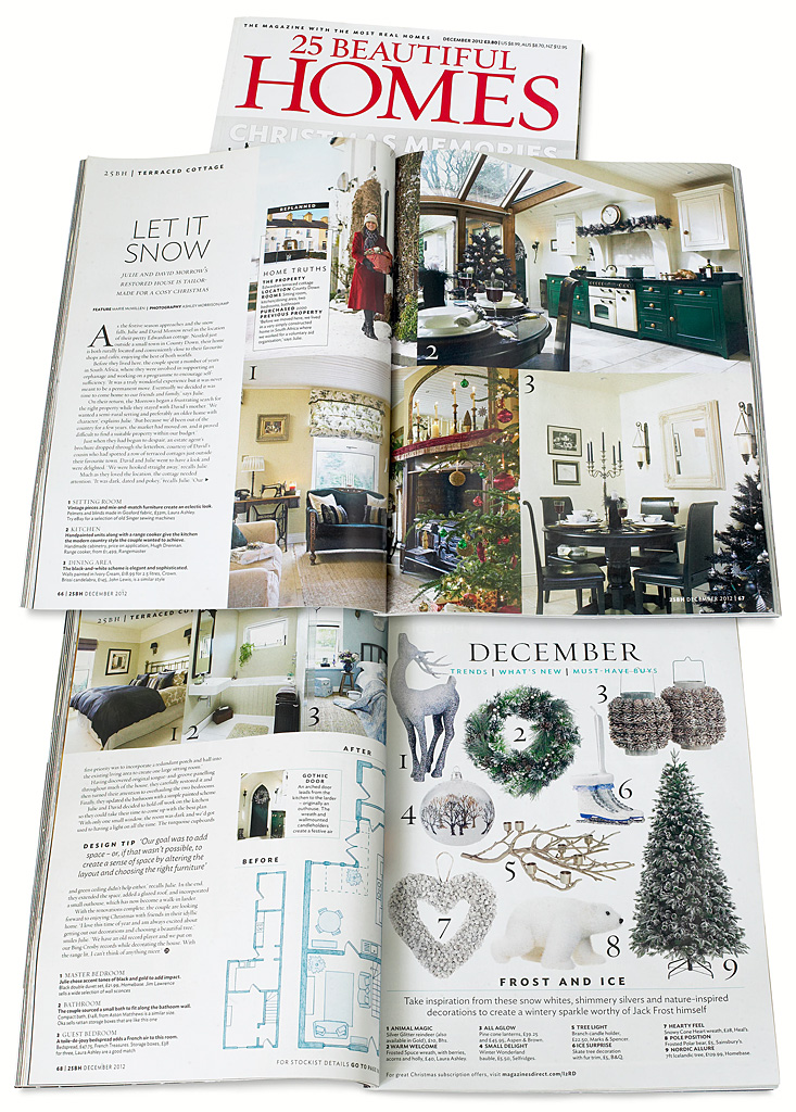 Pages 66 to 68 in the December 2012 issue of 25 Beautiful Homes magazine featuring Julie & David Morrow's cottage near Comber in County Down at Christmas.