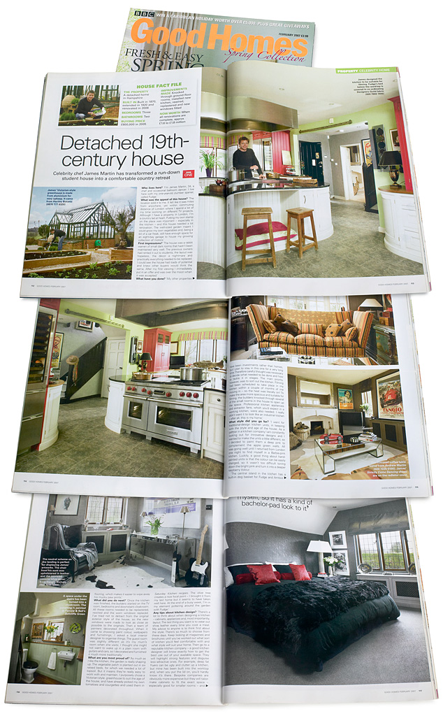 Pages 154 to 159 in the February 2007 issue of BBC Good Homes magazine featuring English TV celebrity chef James Martin's detached 19th-century house in Hampshire.