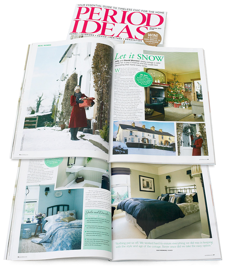 Pages 42 to 48 in the December 2013 issue of Period Ideas magazine featuring Julie & David Morrow's cottage near Comber in County Down at Christmas.