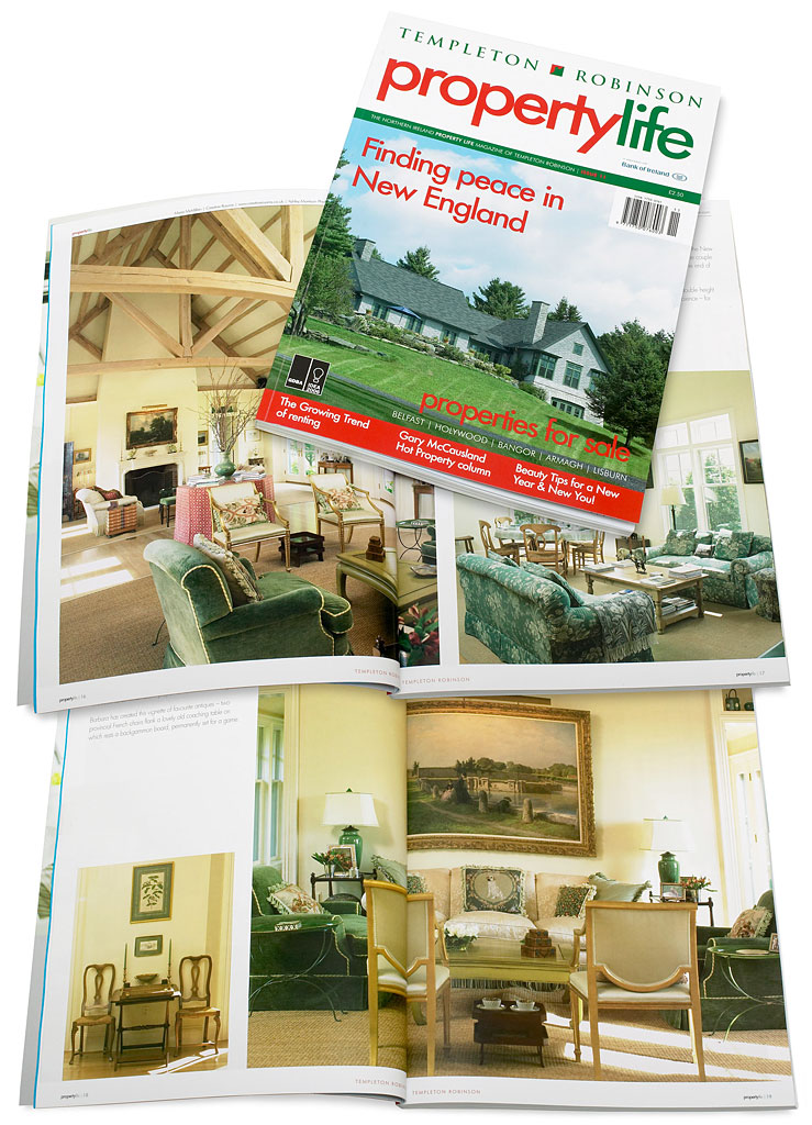 The cover plus pages 14 to 24 in issue 11 of Templeton Robinson's Property Life magazine featuring Barbara & Mark Leswing's Hidden Valley Farm in Vermont.
