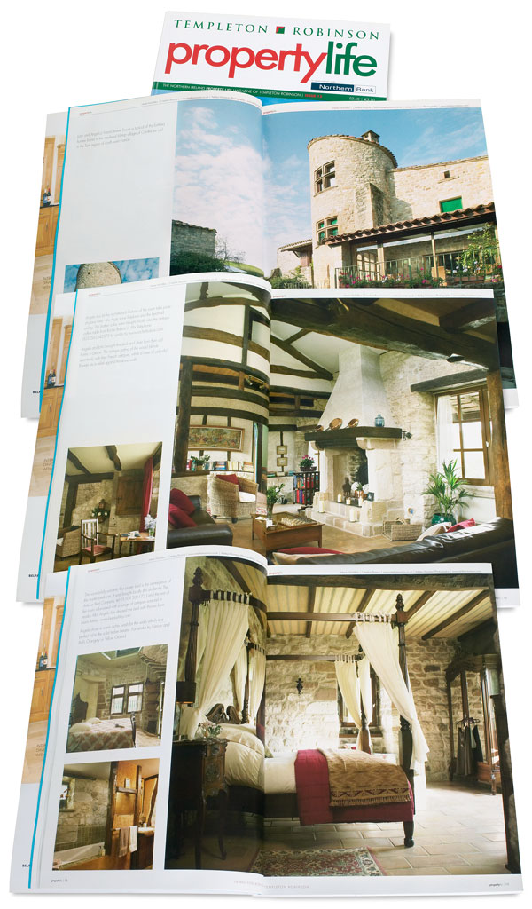Pages 8 to 19 in issue 13 of Property Life magazine featuring Angela and John Goodwin's Tower House in the Tarn region of France.