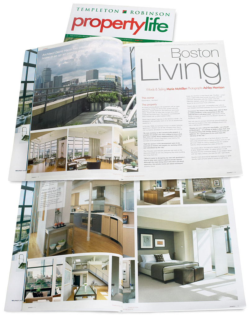 Pages 12 to 15 in issue 19 of Templeton Robinson's Property Life magazine featuring David Hacin & Tim Grafft's 'Laconia Lofts' project apartment in Boston.