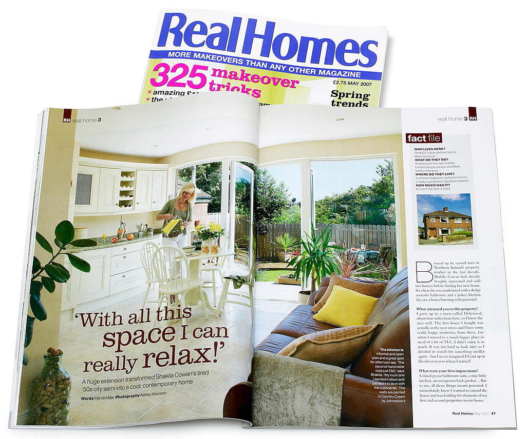 Pages 46 to 51 in the May 2007 issue of Real Homes magazine featuring Shakila Cowan's contemporary 1950s semi detached house in Belfast.