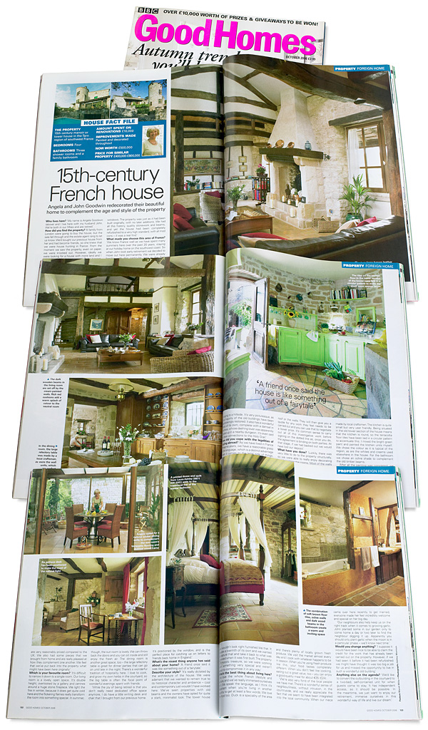 Pages 118 to 123 in the October 2006 issue of BBC Good Homes magazine featuring Angela and John Goodwin's Tower house in the Tarn region of France