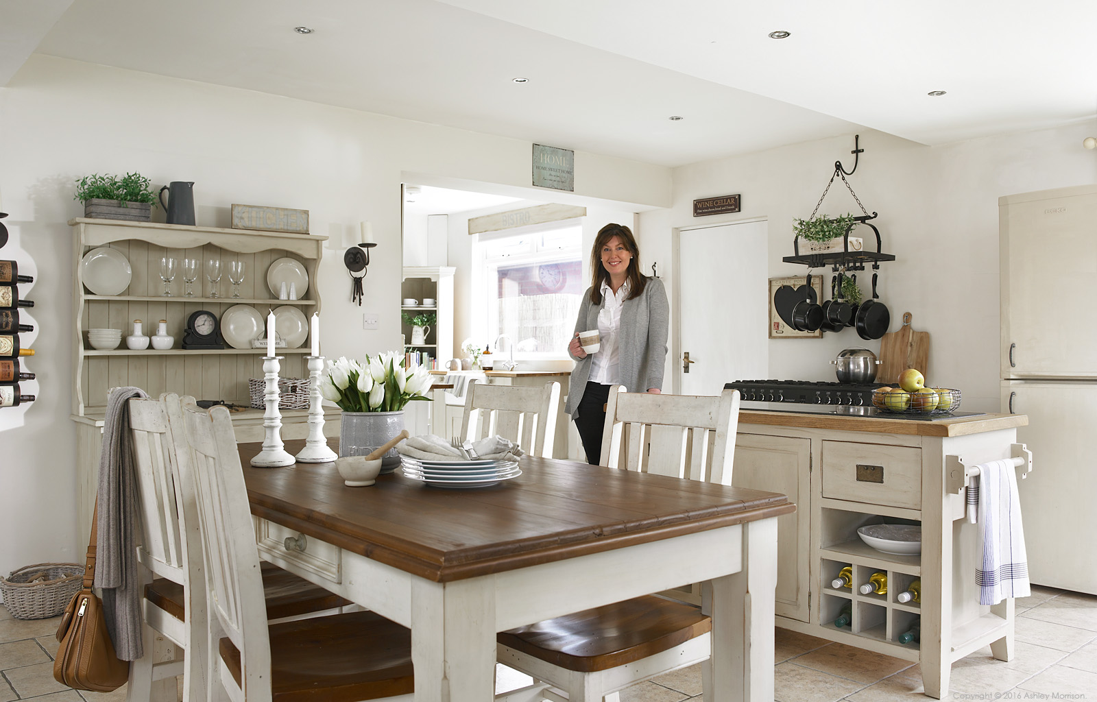 Jillian Donaldson in the kitchen of her 1950's detached house in Belfast.