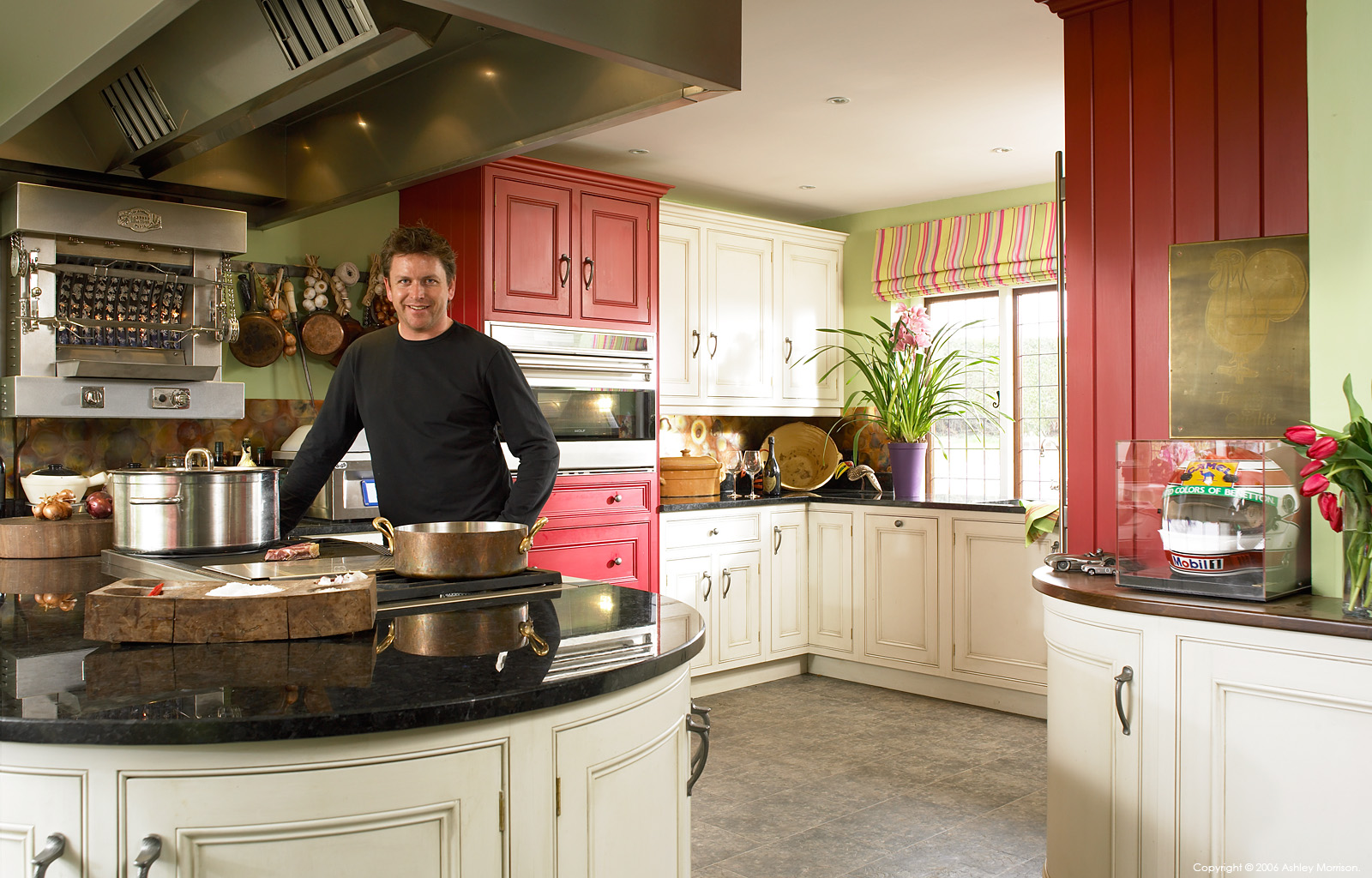 English TV celebrity chef James Martin in the kitchen of his Winchester home.