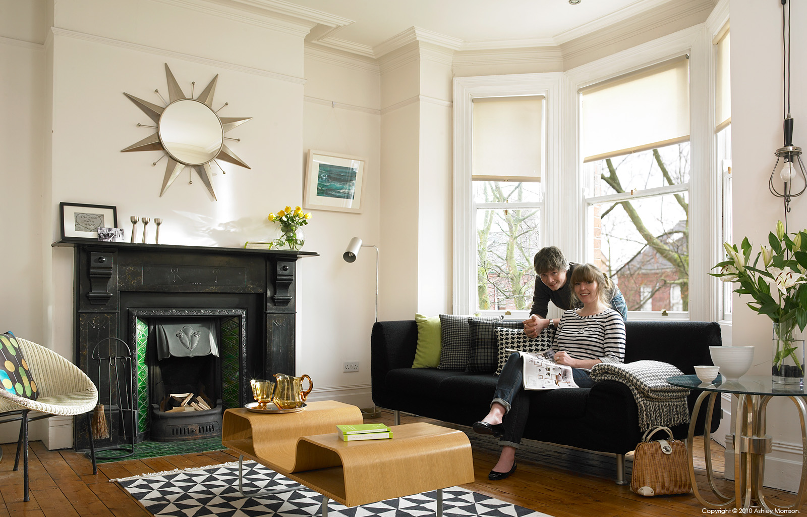 Mairead & Owen McIntyre in the upstairs sitting room of their Victorian terrace in the university area of Belfast by Ashley Morrison and Marie McMillen.