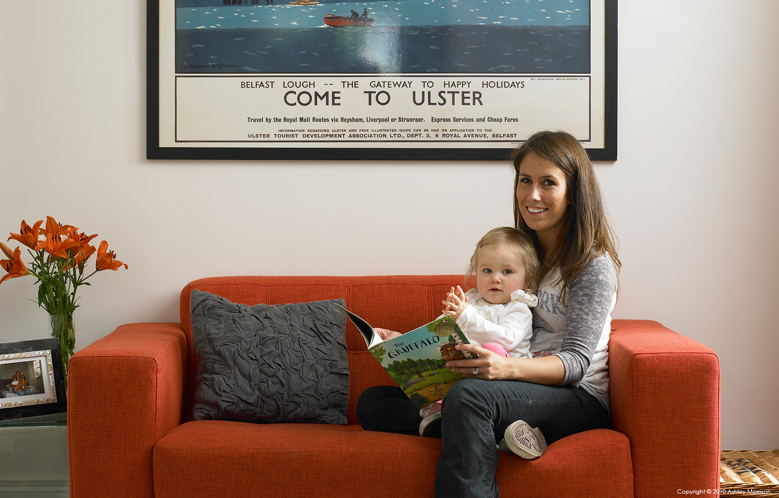 Laura Menary with her daughter in their Victorian townhouse in the County Down town of Holywood.