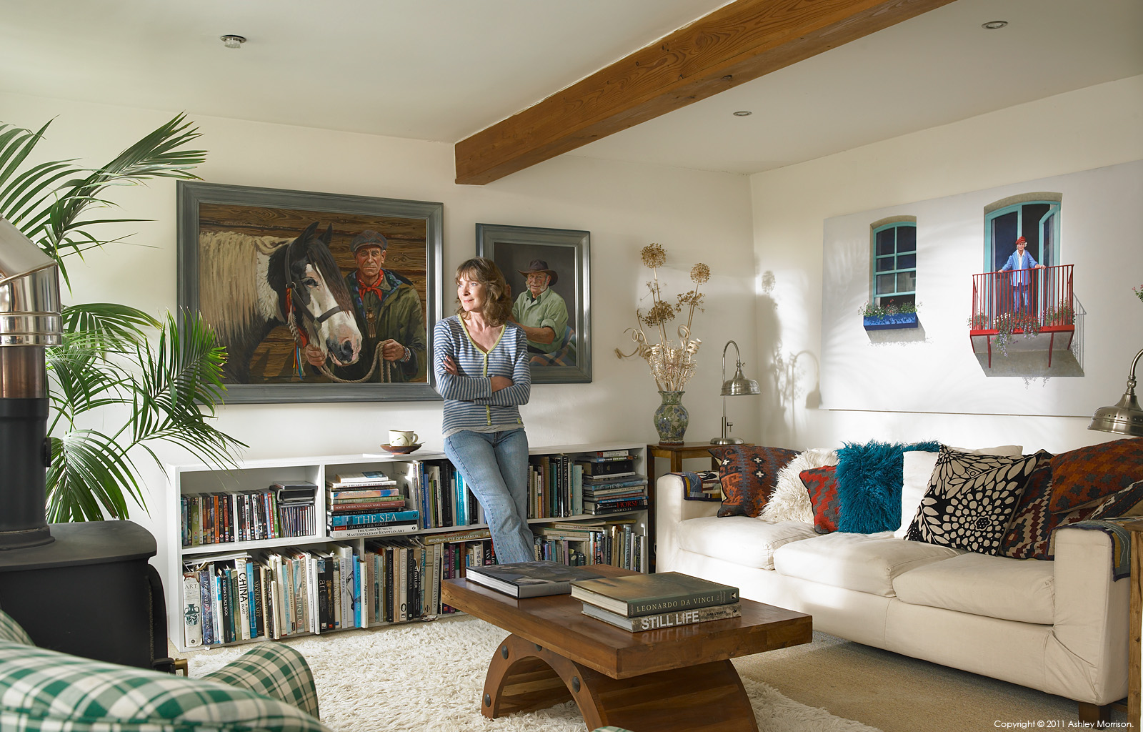 Janet Shearer in the sitting room of her converted barn near Bodmin in Cornwall by Ashley Morrison.