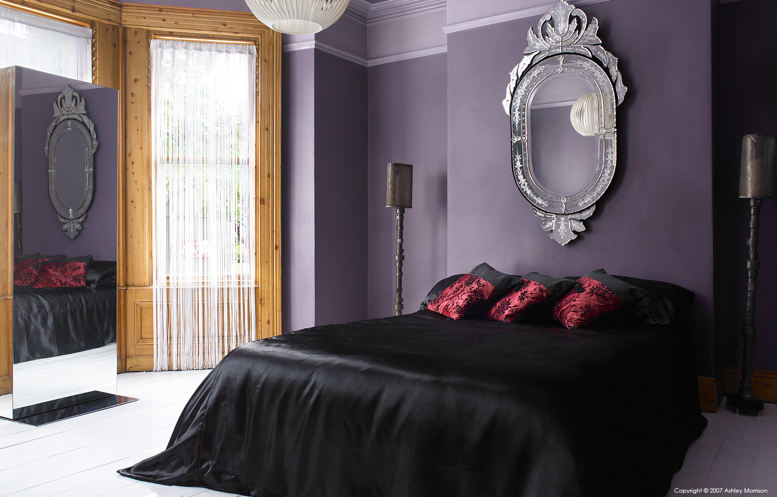 The master bedroom in Dawn Clarke and Graham Barrow's Victorian semi detached house in Bloomfield area of Belfast.