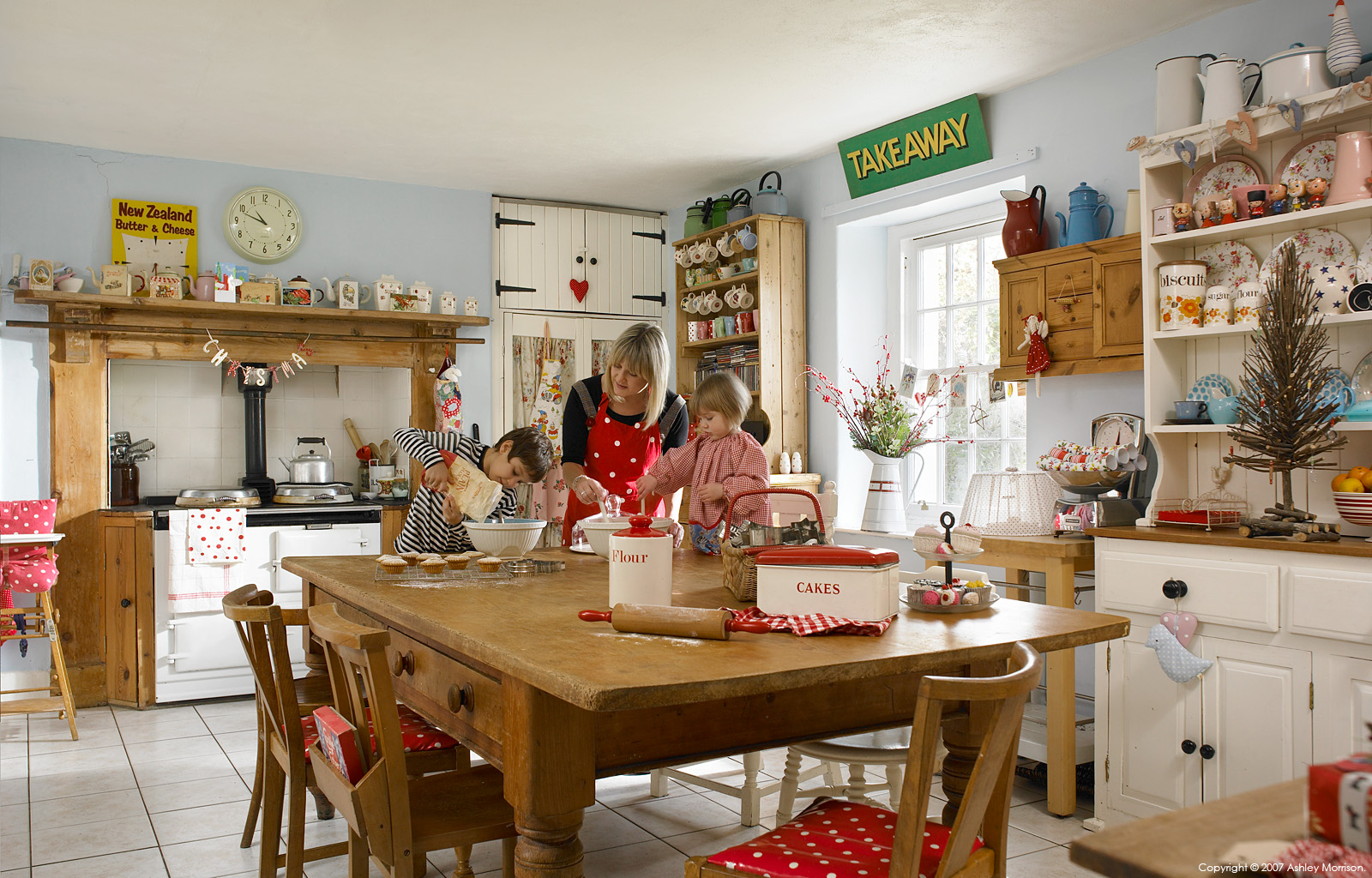 Donna Flower with her family in the kitchen of their farmhouse located near Bideford in Devon.