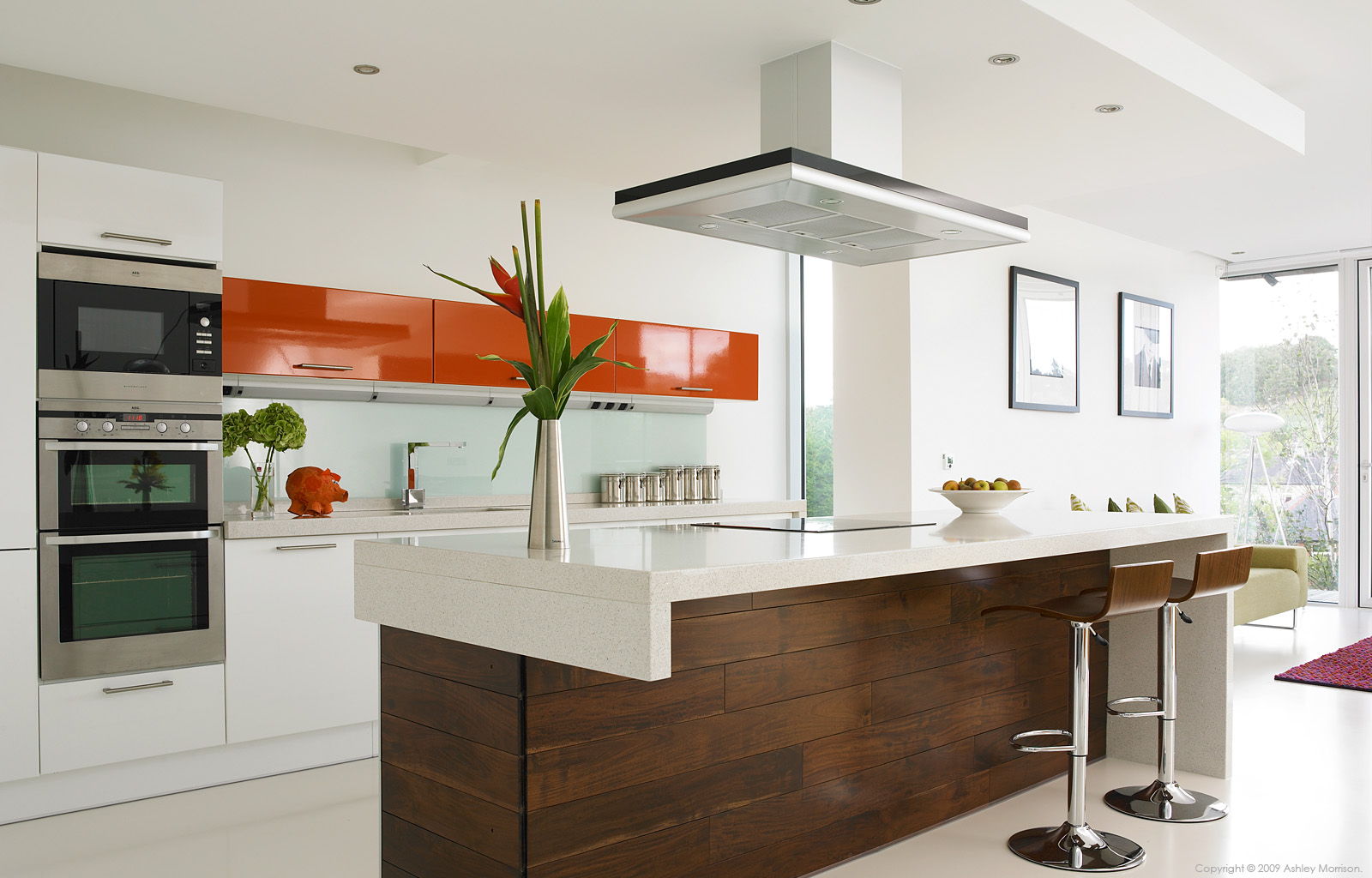 The kitchen in Amanda and Dorian Grayson's architect-designed new-build house in Huddersfield.