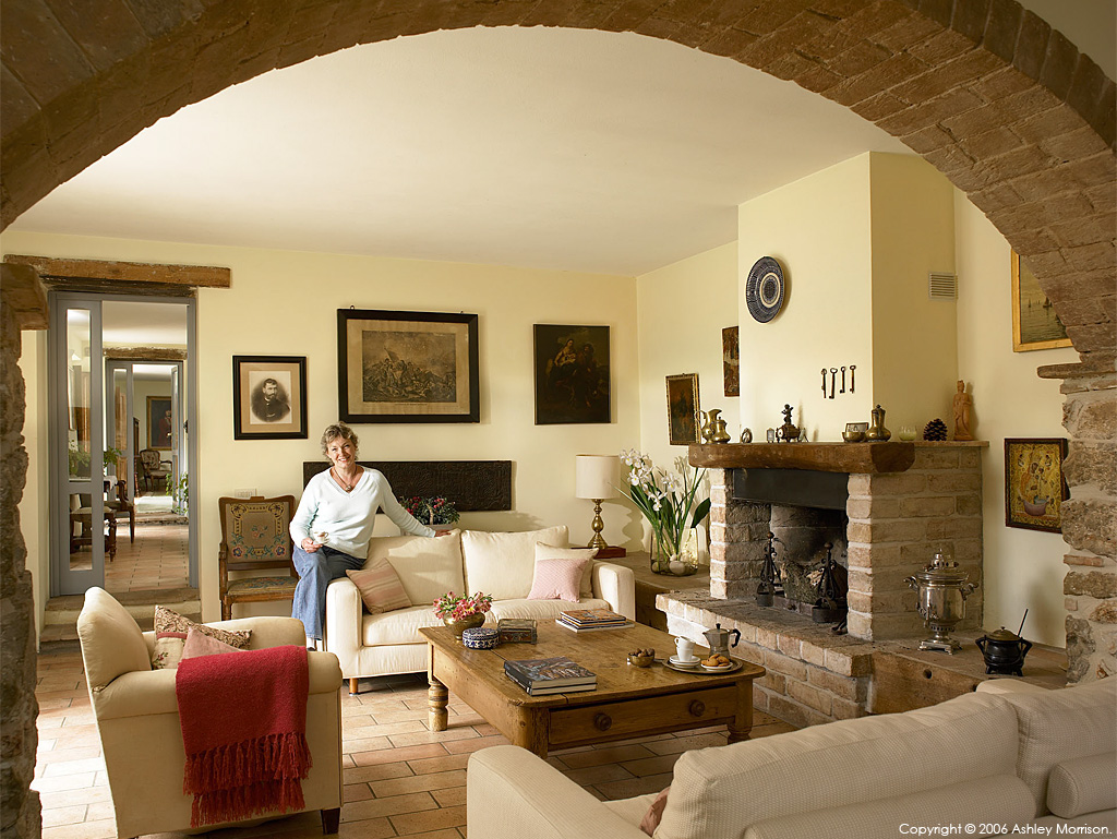 Helen Hannick in the living room of her 18th century farmhouse called 'Poggio Le Stalle' near the Italian city of Amelia in Umbria.