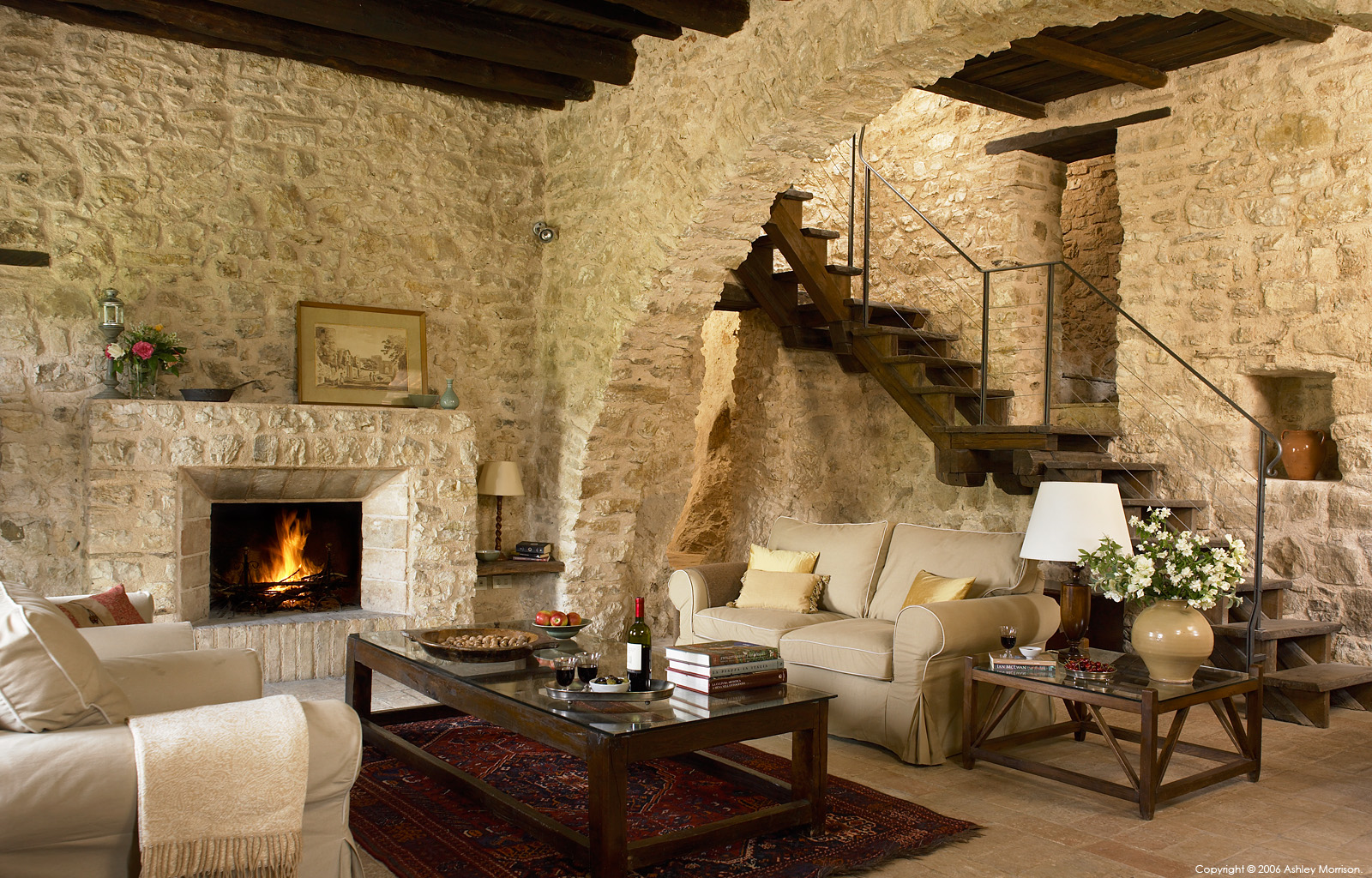 The sitting room in Casa dell'Arco at Borgo Pianciano in the Umbria Region of Italy near Spoleto.