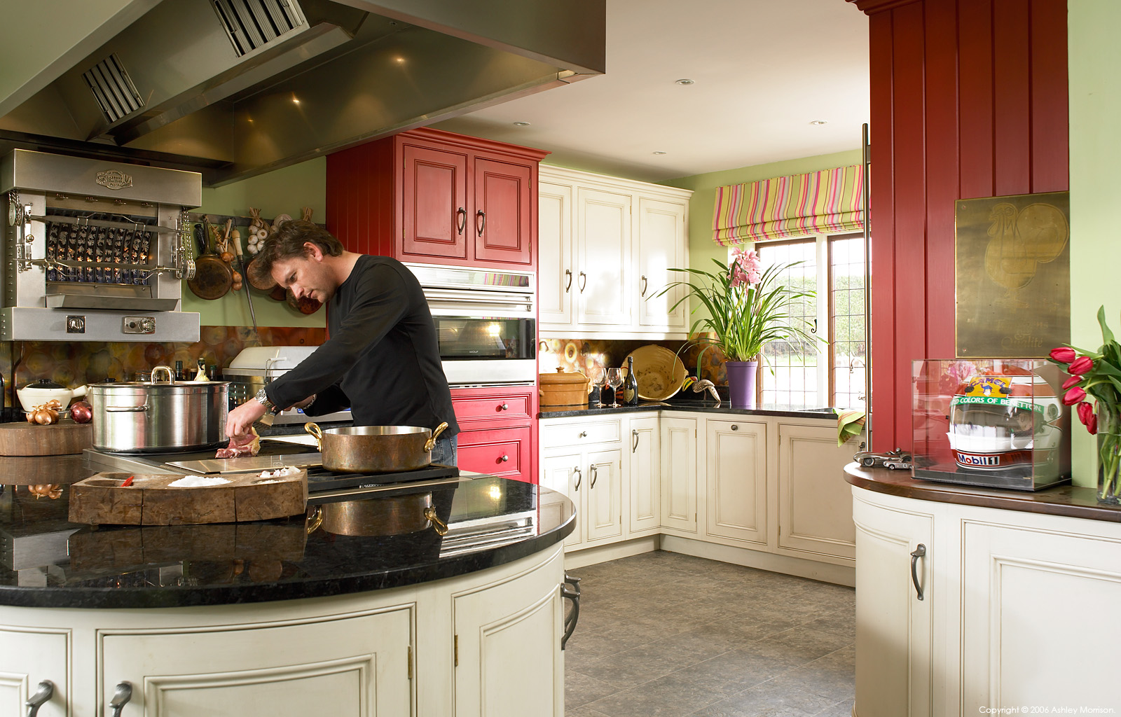 English TV celebrity chef James Martin in the kitchen of his detached 19th-century house in Hampshire.