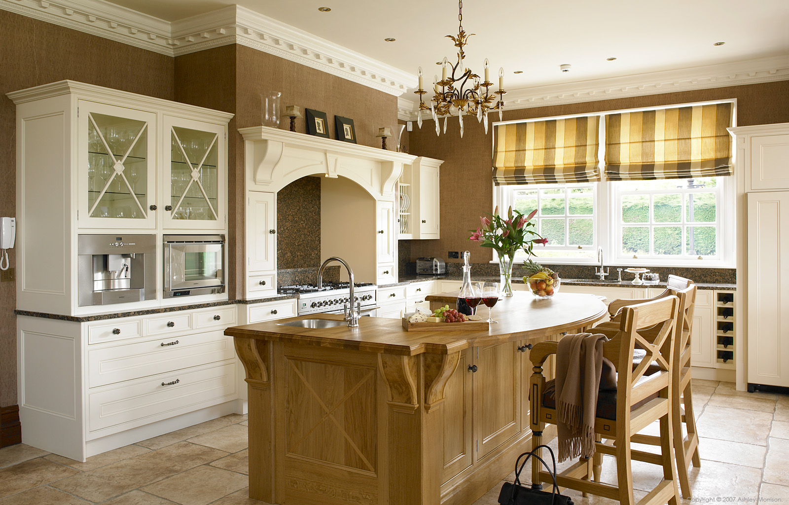 Handmade Painted Clotted Cream & Pippy Oak kitchen at McGlone's home near Magherafelt.