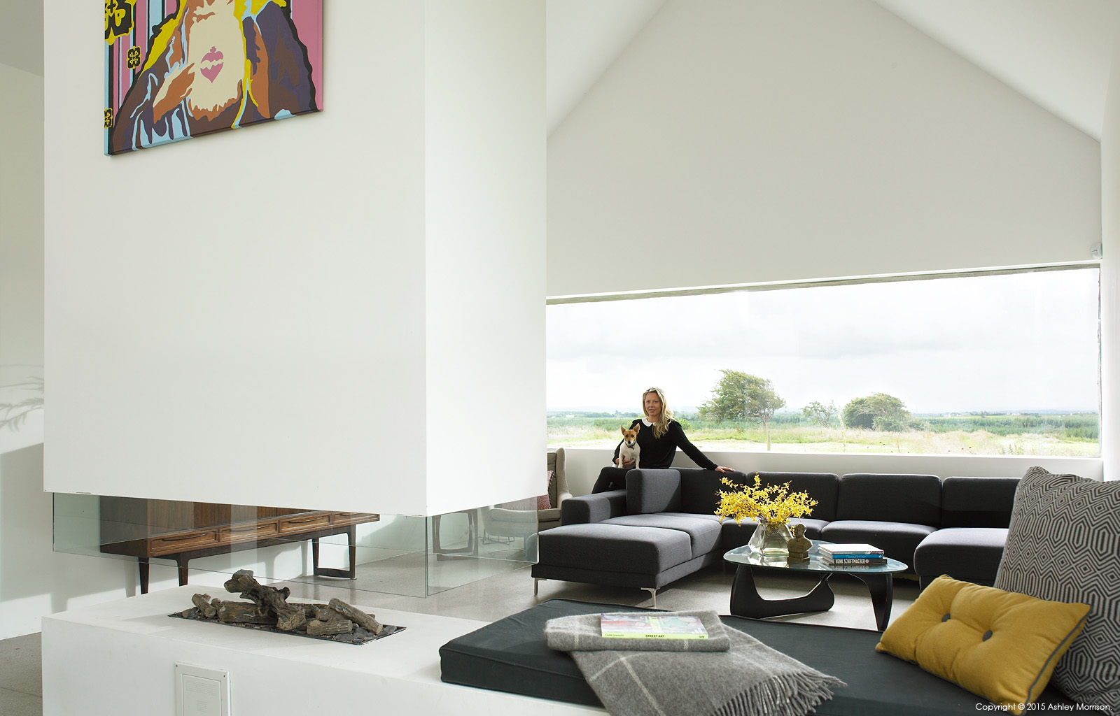 Louise McGuane in her renovated farmhouse called 'The Safe House' near the village of Cooraclare in County Clare.