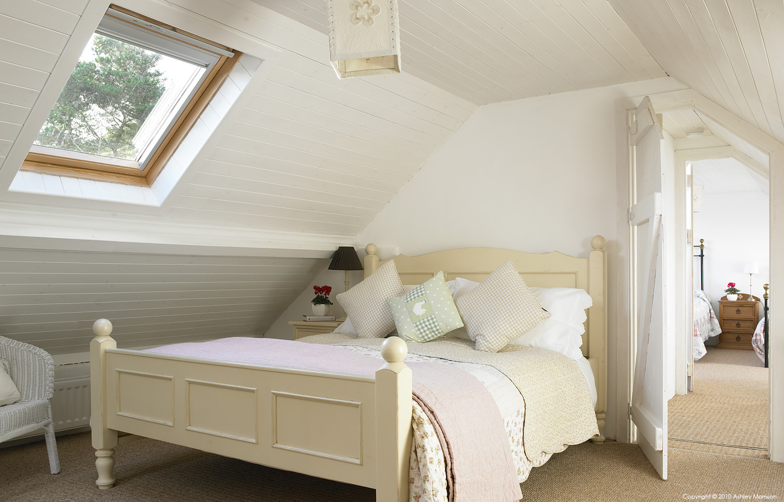 One of the attic bedrooms in Sarah and Geoff Mitchell's cottage called 'Paddy Mors' near Fanad Head in County Donegal.