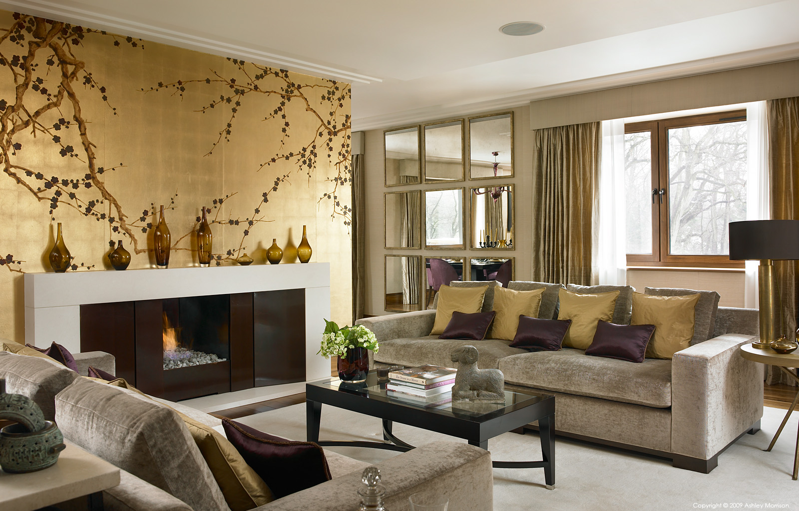The sitting room in Lisa and Julian Moisevitch's modern apartment in the Bishops Avenue area of London.
