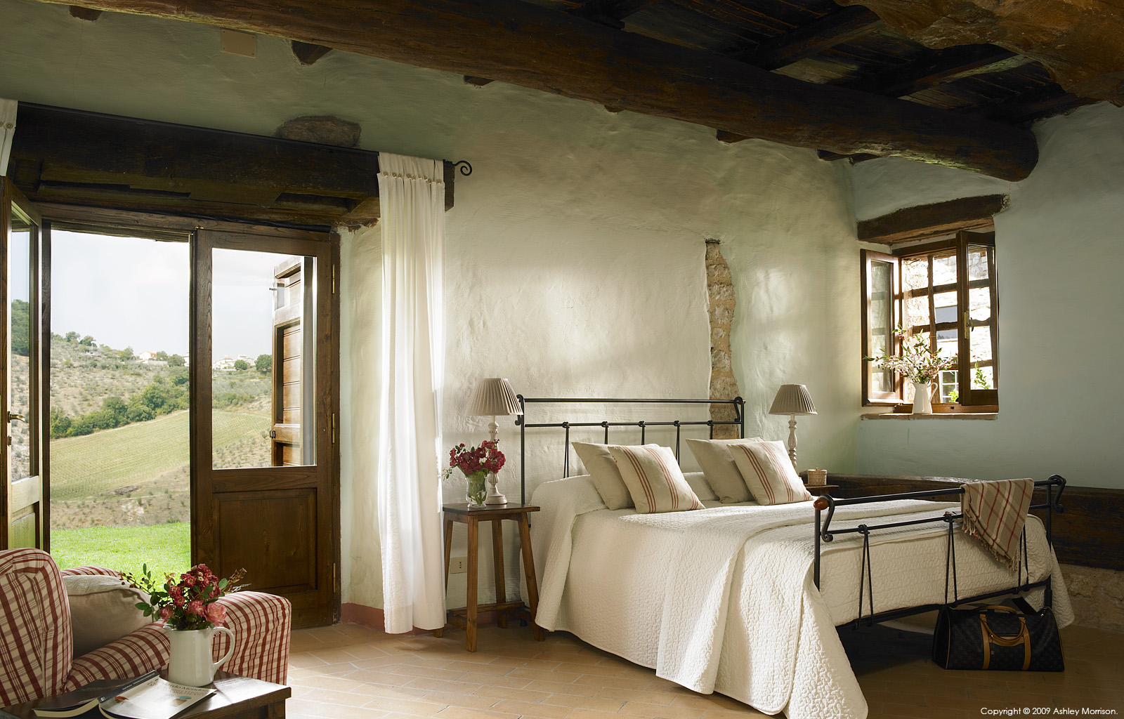 Bedroom in Casa del Cipresso at Borgo Pianciano in the Umbria Region of Italy near Spoleto.
