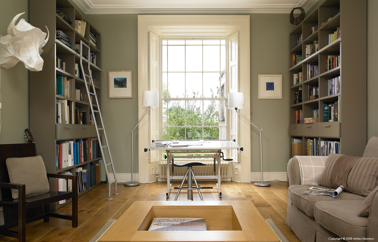 The 2nd floor study in Louise and Maoilíosa Reynolds' early-Victorian terrace house in the Sandycove area of Dublin.