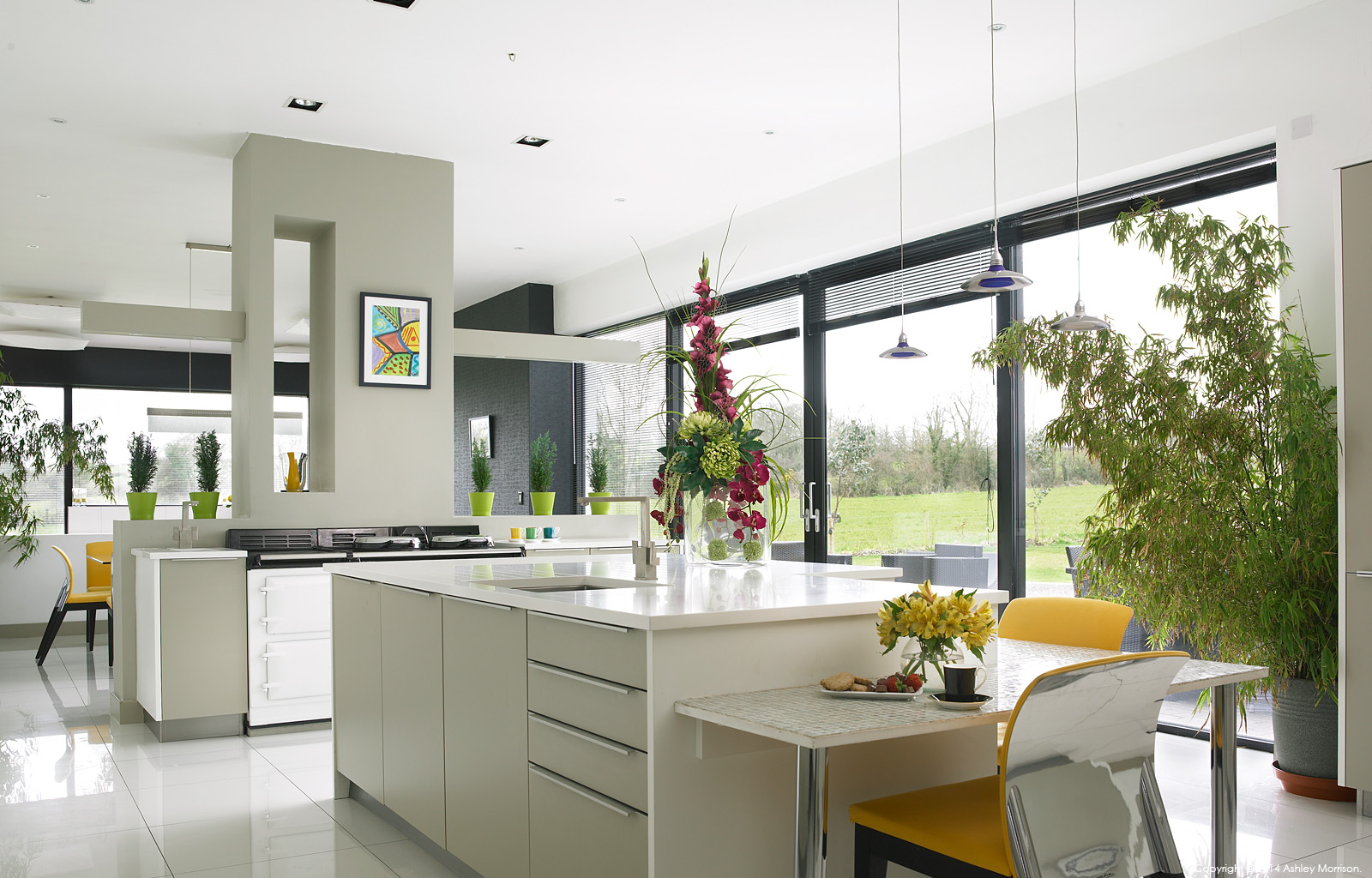 The kitchen in Fiona and Brian Shiells' architectural new build house near Dungannon in County Tyrone.