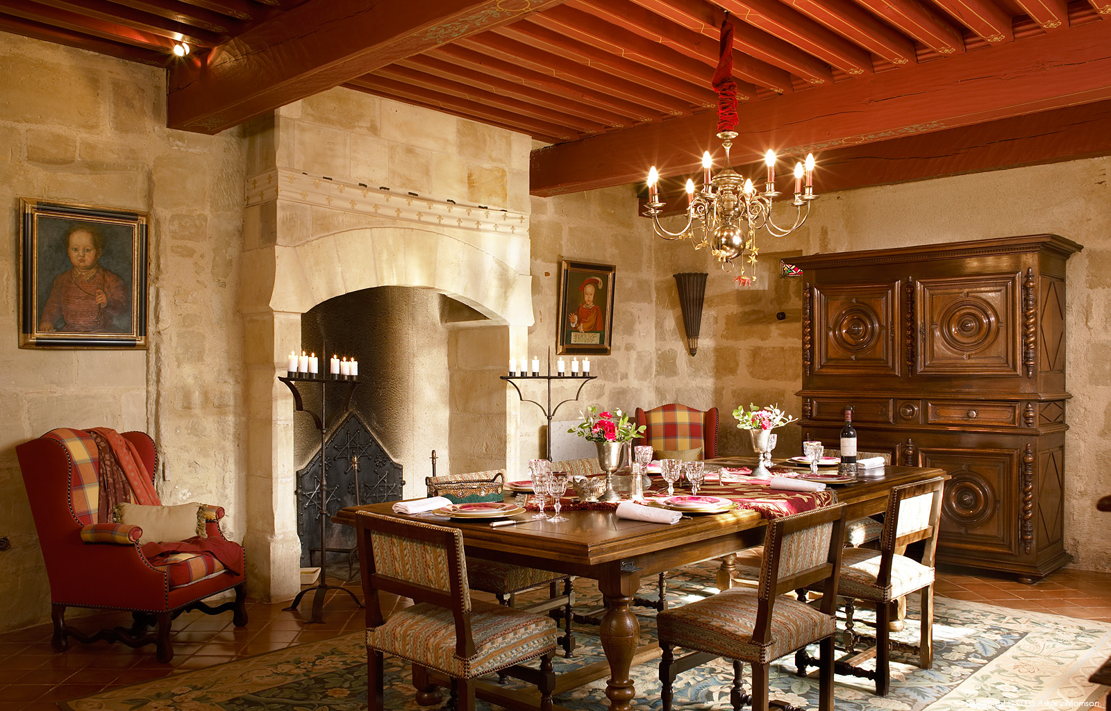The dining room in Christian Teissier's 13th Century French Chateau in the Dordogne region of France by Ashley Morrison.