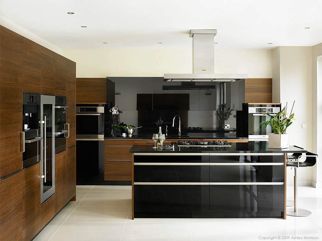 Black Gloss And Walnut Kitchen By Robinson Interiors In A House Near The County Down Town Of Comber
