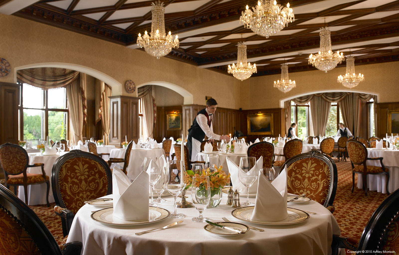 the george v dining room at ashford castle near the