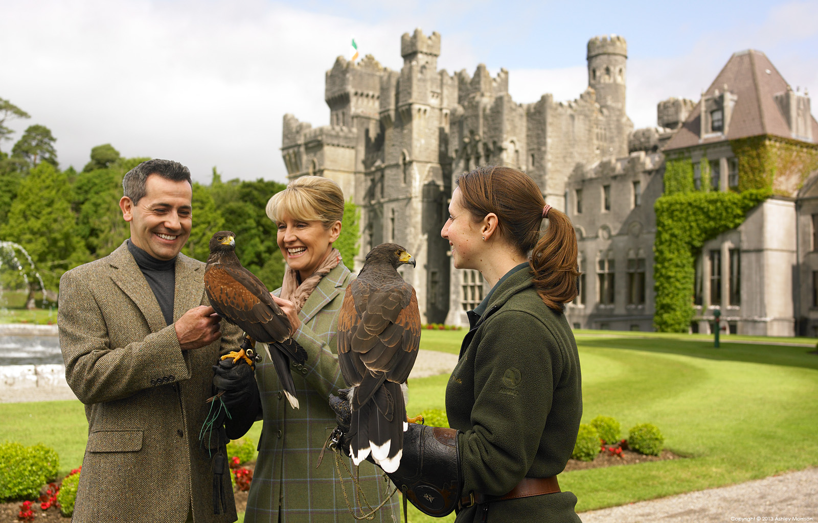 Guests with Harris hawks at Ashford Castle in County Mayo by Ashley Morrison.