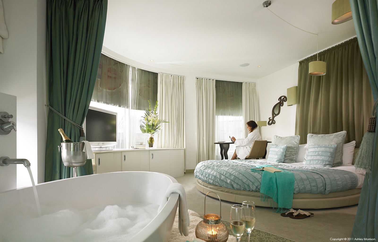 The Jade studio bedroom suite in My Hotels Brighton by Ashley Morrison.
