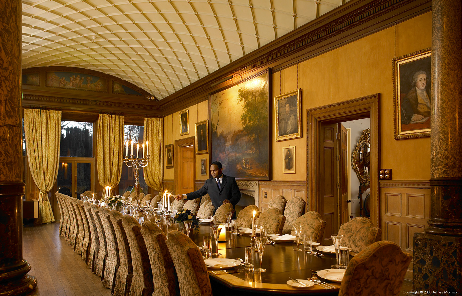 The Dinning room & gallery at Castle Leslie in Co Monaghan.
