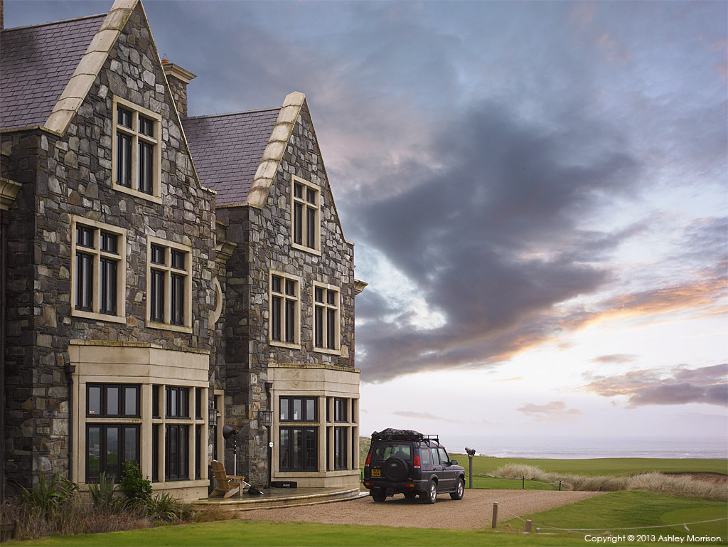 Our Land Rover sitting outside the Member's Club House at the Trump International Golf Links & Hotel in County Clare.