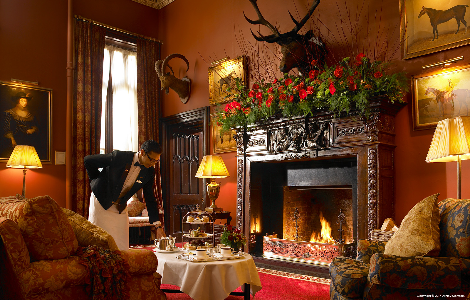 The fireplace in the lounge area at Dromoland Castle in County Clare.