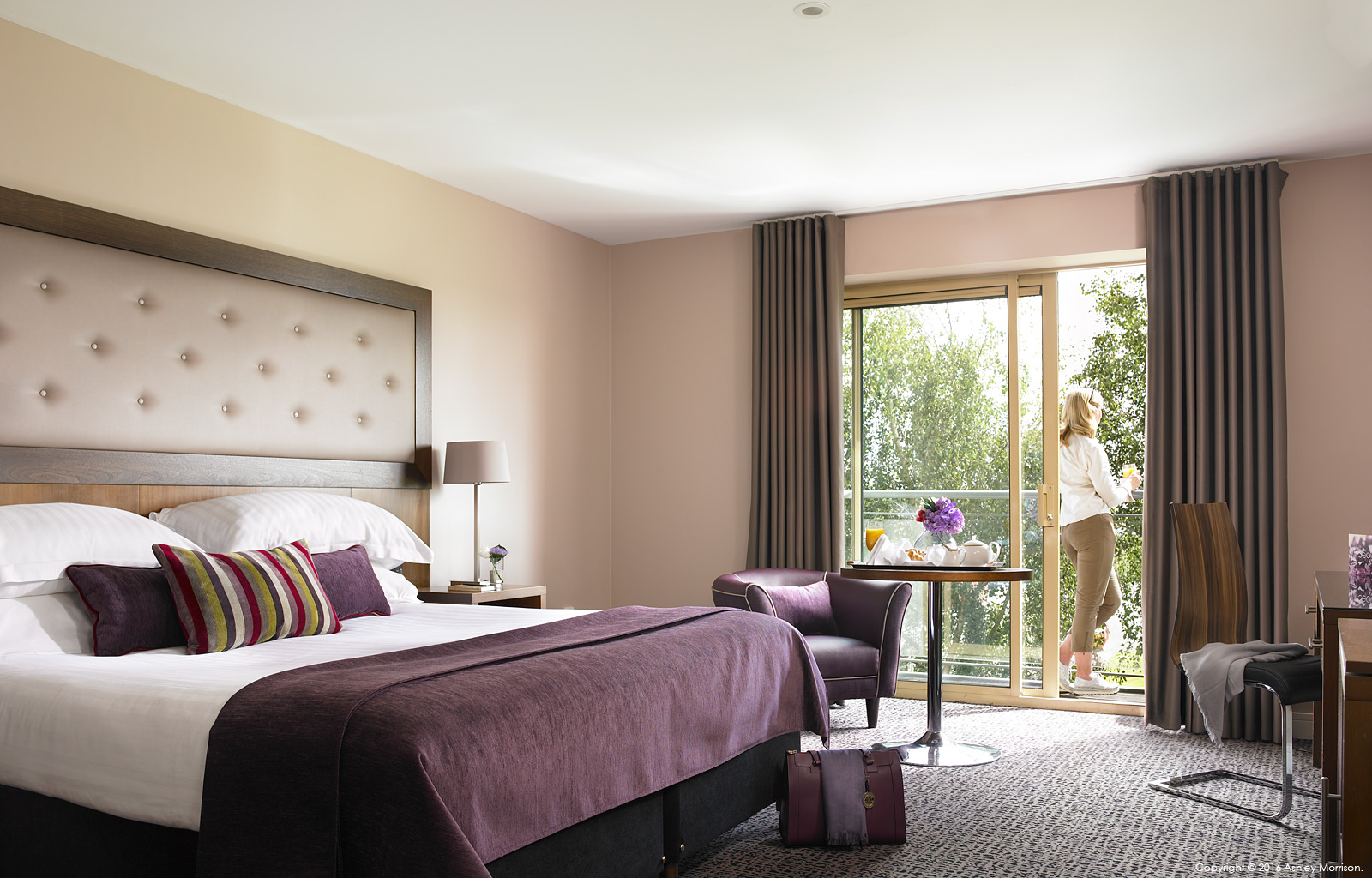 The Deluxe bedroom with a balcony at Dunboyne Castle Hotel & Spa in County Meath.
