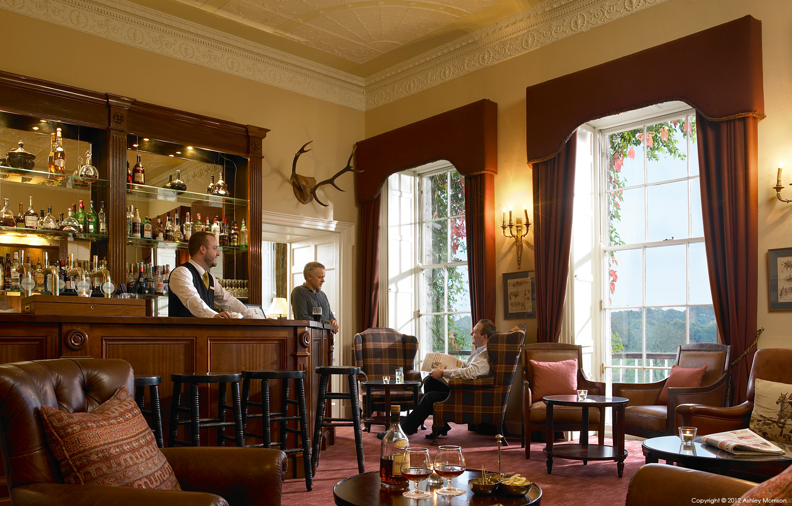The bar in Mount Juliet House at Mount Juliet Country Estate in County Kilkenny by Ashley Morrison.