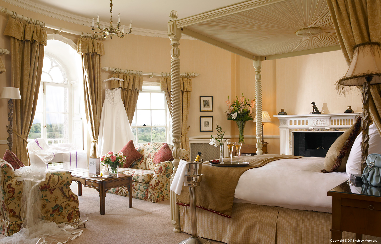 Bridal suite in the Mount Juliet House at Mount Juliet Country Estate in County Kilkenny by Ashley Morrison.