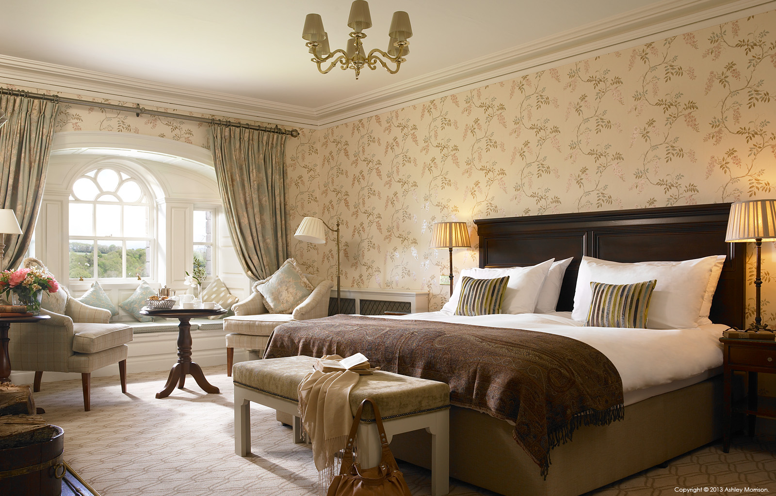 Bedroom suite in Mount Juliet House at Mount Juliet Country Estate in County Kilkenny.