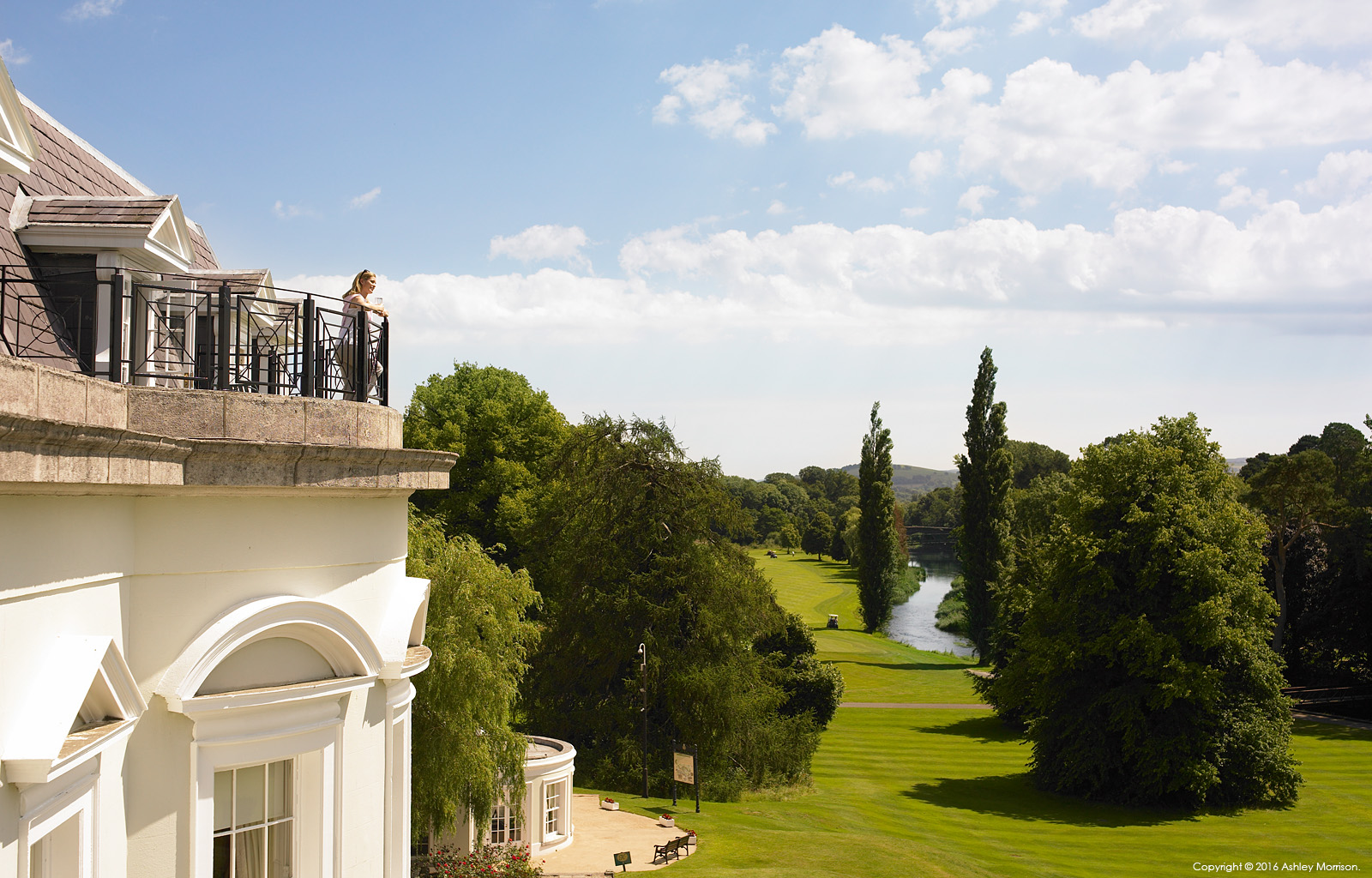 The balcony and view from the Presidential suite at the Kildare Hotel Spa & Golf Club near Straffan in County Kildare.