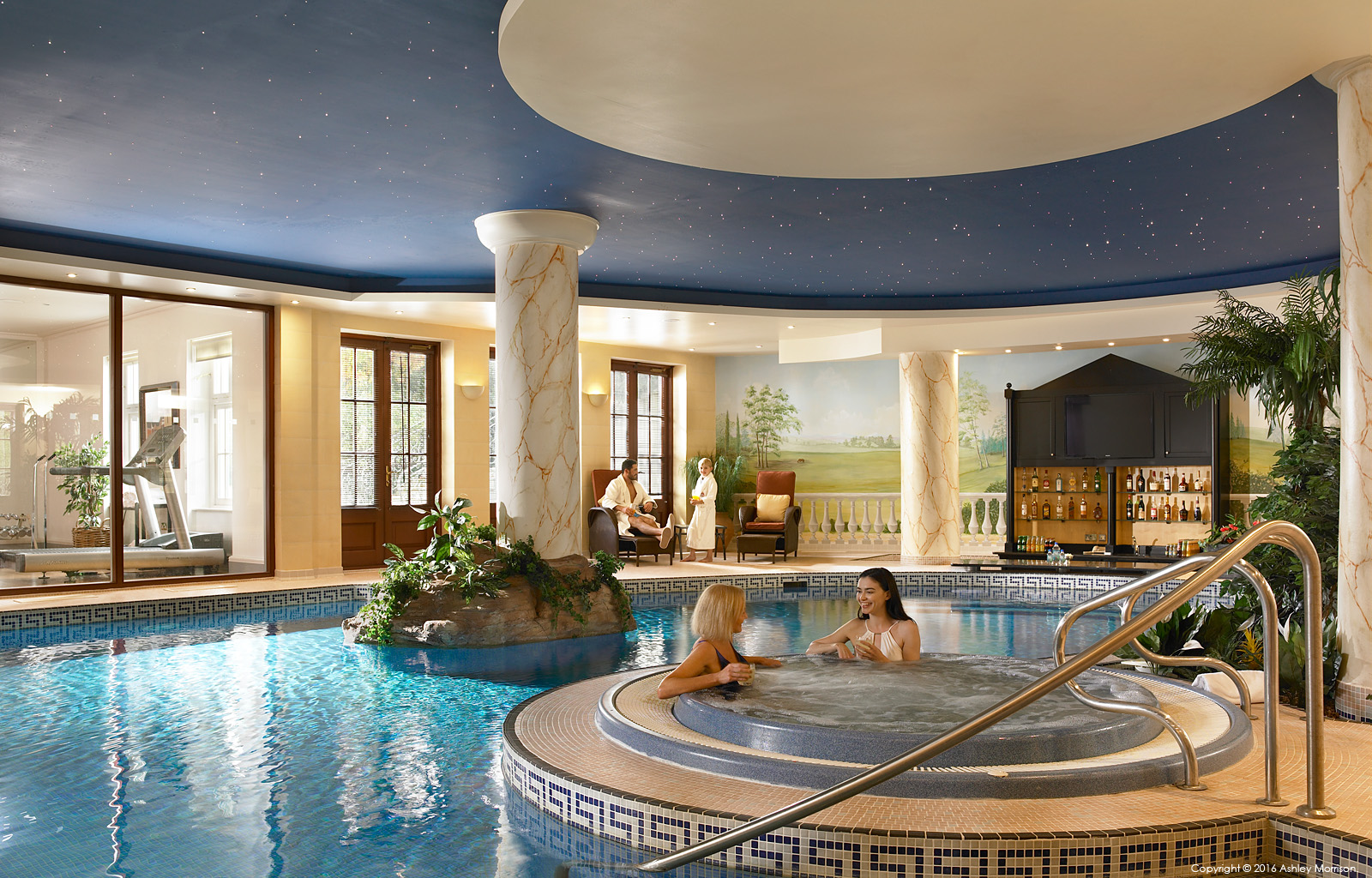 The swimming pool in Straffan House at The K Club in County Kildare.