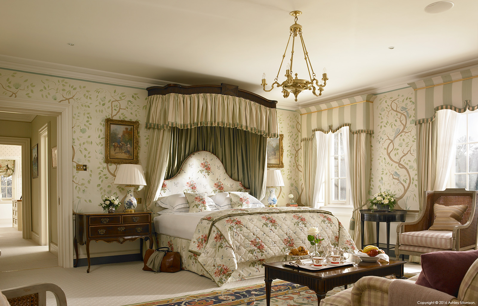 The master bedroom in Straffan House at The K Club in County Kildare.
