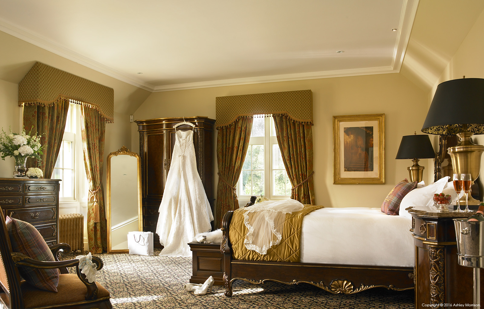 The Bridal bedroom suite at the Trump International Golf Links Hotel near Aberdeen in Scotland.