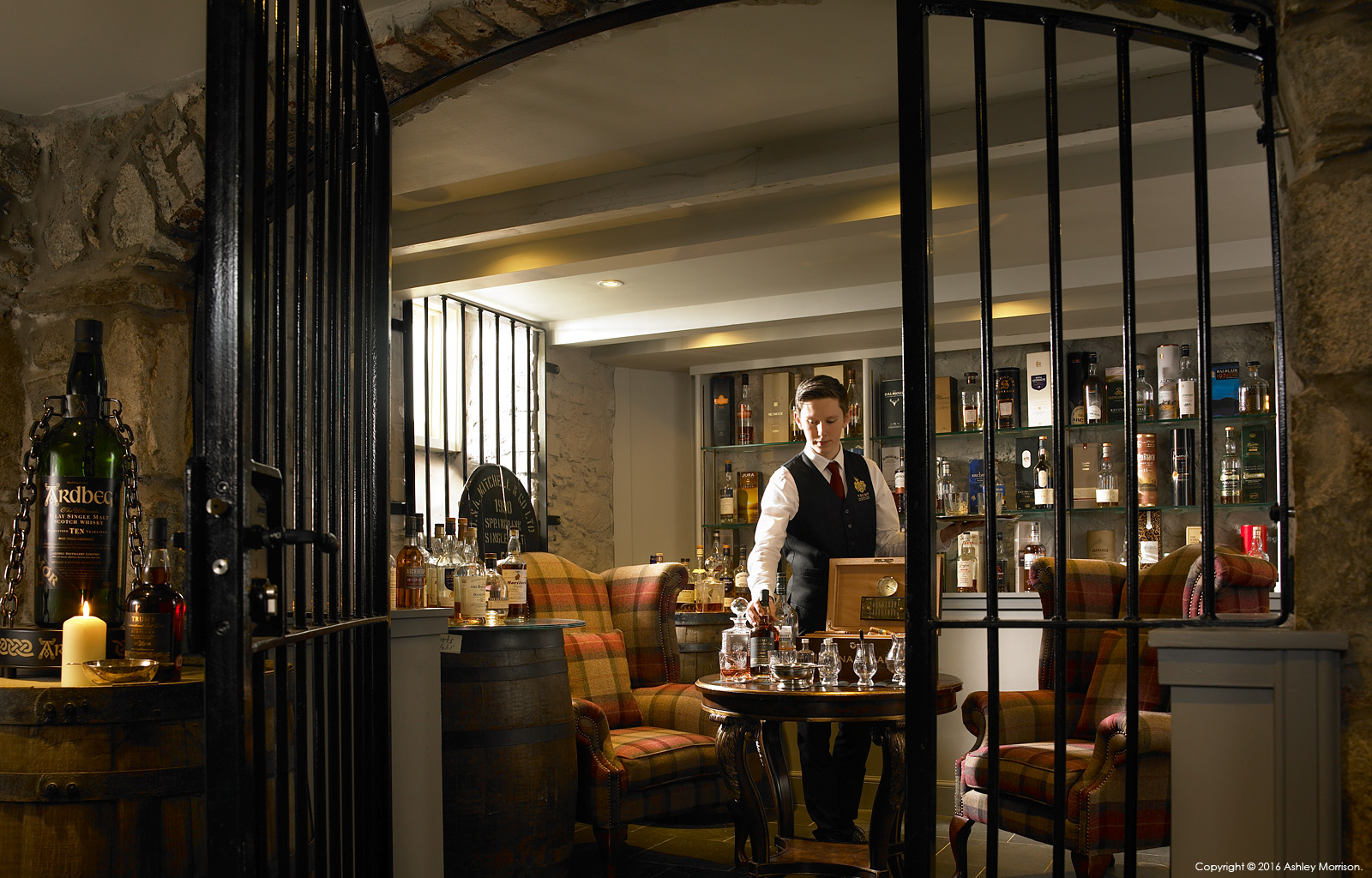 The whisky tastings room in the basement at the Trump International Golf Links Hotel near Aberdeen in Scotland.