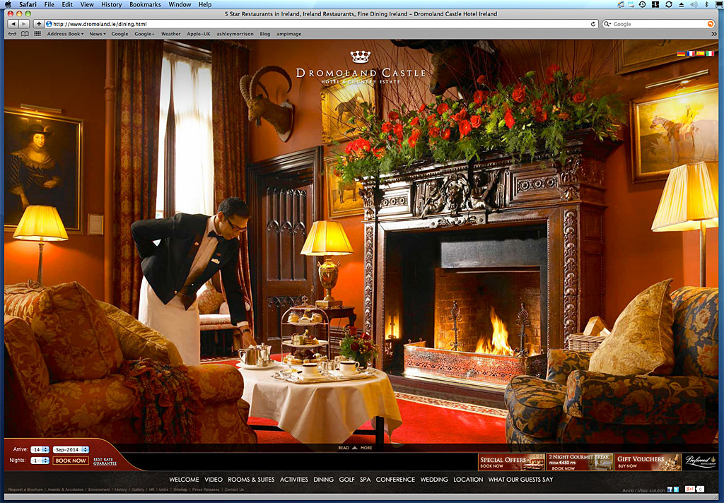 Screen shot of the Home page showing how our work was used on Dromoland Castle's website.