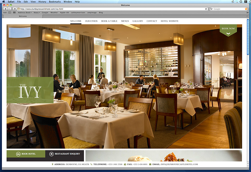 Screen shot of The IVY page on the Dunboyne Castle Hotel's website.