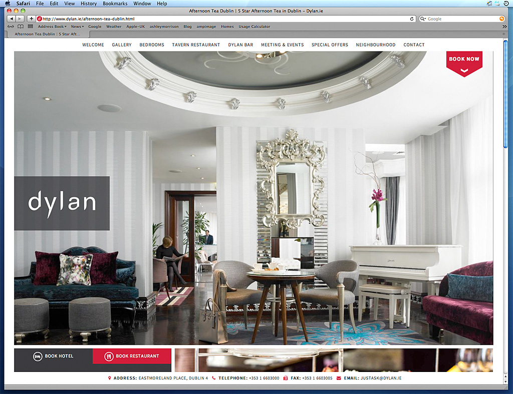Media use: Worldwide web - Afternoon tea at the Dylan Hotel in Dublin.