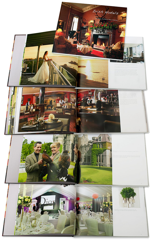 Book called Irish Hotels by Ashley Morrison & Marie McMillen showing some of the pages containing images produced at the Hodson Bay Hotel in County Westmeath and Ashford Castle in County Mayo.