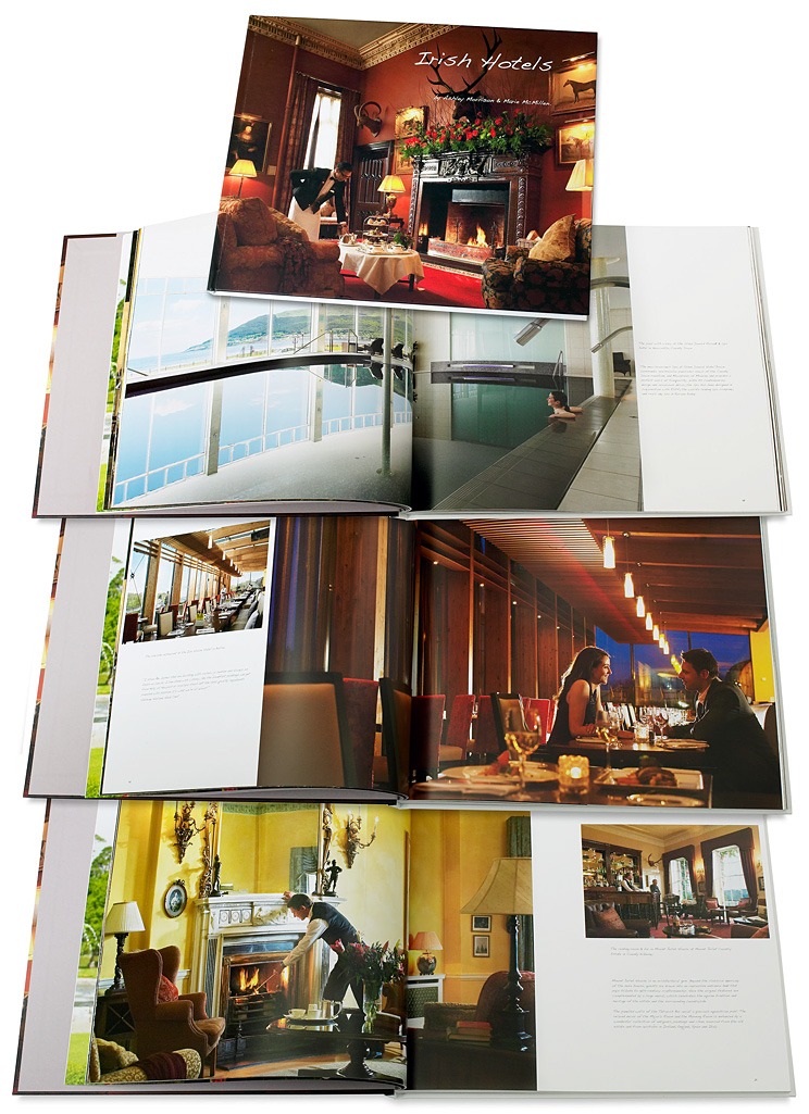 Book called Irish Hotels by Ashley Morrison & Marie McMillen showing some of the pages containing images produced at the Slieve Donard Hotel, the Ice Hotel Hotel and at Mount Juliet, as well as cover image which was produced at Dromoland Castle.